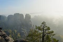 Stock Photo of Germany, Saxony, Saxon Switzerland, National Park, Bastei rock formation in the