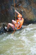 Tourist canyoning, vietnam Stock Photos