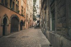 France, Department Rhone, Lyon, Alleyway and old houses Stock Photos