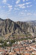 Turkey, Black Sea Region, Amasya, cityscape with castle - stock photo