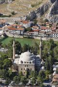 Turkey, Black Sea Region, Amasya, Sultan Beyazit Mosque at river Yesilirmak - stock photo