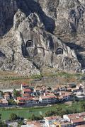 Turkey, Black Sea Region, Amasya, rock tombs at river Yesilirmak - stock photo