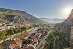 Turkey, Black Sea Region, Amasya, cityscape with river Yesilirmak - stock photo