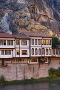Stock Photo of Turkey, Black Sea Region, Amasya, Ottoman houses and rock tombs at river
