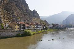 Turkey, Black Sea Region, Amasya, Ottoman houses at river Yesilirmak - stock photo