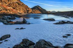 caltun lake in fagaras mountains - stock photo