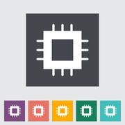 Electronic chip flat icon 2 - stock illustration