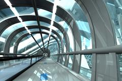 Futuristic passage of railway station, 3D Rendering - stock illustration