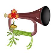 Stock Illustration of A Musical Bugle with Mistletoe and Golden Bells