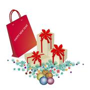 Red Paper Shopping Bag with Gift Boxes Stock Illustration