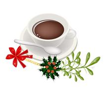A Cup of Hot Coffee with Mistletoe Bunch Stock Illustration