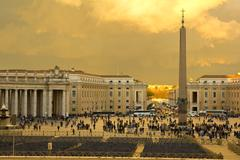 Sunset in st. peter's square, vatican. Stock Photos