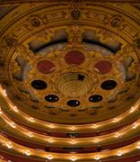 vaulted ceiling and boxes at the teatro liceu, barcelona - stock photo