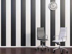 Stock Illustration of 3D rendering, Empty office chairs