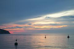 Slovenia, Istria, Slovene Littoral, Izola, Adriatic coast at sunset Stock Photos