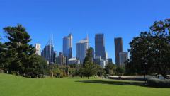 Panning shot of Sydney City Skyline, Royal Botanic Garden, 4k Stock Footage