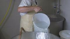 mozzarella production: italian cheese factory, mozzarella, fresh cheese - stock footage