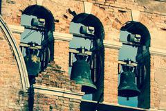 campanile of a venetian church - stock photo