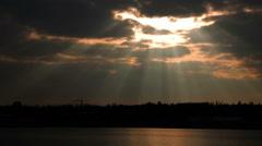 Sun beams breaking over Reykjavik, Iceland dawn Stock Footage