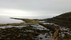 Whitley Bay. Low tide. East coast of England at early morning time Stock Footage