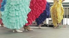 Fancy foot-work of female flamenco dancers Stock Footage