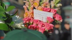 Flowers for cpl nathan cirillo, close up Stock Footage