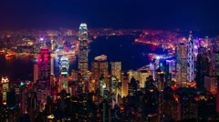 Blue hour time-lapse of Hong Kong – ZOOM IN - stock footage
