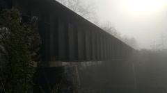 Abandoned Bridge Fog Fall Stock Footage