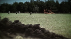 Allied Battlefield w/ Fire + Smoke   U.S. Infantry   World War 2 Stock Footage
