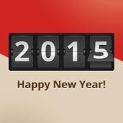 Happy new year 2015 on flip clock Stock Illustration
