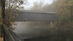 Covered Bridge 3 Fog - stock footage