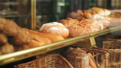 Fresh bread in bakery, steadycam shot Stock Footage