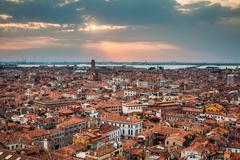 venice cityscape - view from campanile di san marco. unesco world heritage si - stock photo