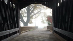 Stock Video Footage of Covered Bridge Exit Fog