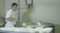 man is working a small dairy: production o typical italian fresc cheese - stock footage