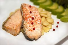 Fillet of salmon with mung bean and vegetables Stock Photos