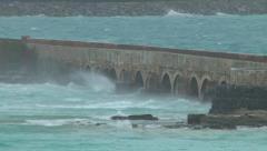 Hurricane blows under an arch bridge Stock Footage