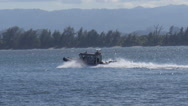 Stock Video Footage of police patrol boat at full speed
