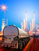 beautiful lighting of oil refinery plant in heavy petrochemical industry and  - stock photo