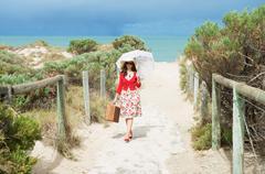beautiful  traveler - stock photo