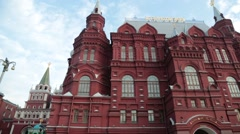Pan from Historical Museum in Red Square to Statue of Marshal Georgy Zhukov Stock Footage