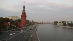 Evening Traffic Parallels Red Square and the Moscow River Stock Footage