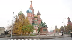 Pan Shot Fropm St. Basil's Cathedral to Spasskaya Tower in Red Square - stock footage