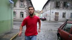 Man running away - stock footage