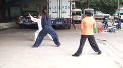 Chinese martial arts training, in Shenzhen - stock footage