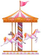 A colourful merry-go-round - stock illustration