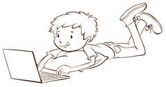 A plain sketch of a boy using a laptop - stock illustration