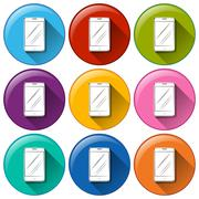 Rounded icons with cellular phones - stock illustration