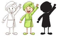 A sketch of a girl after taking a bath in three colours Stock Illustration