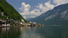 Hallstatt village in Austrian Alps Stock Footage